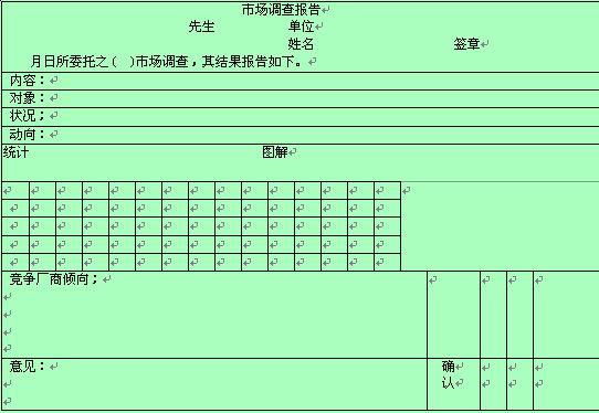 市场调查情况记录报告(doc 1页