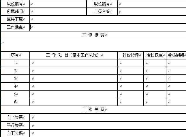 模板(doc1页) 工作职务说明书表格样式
