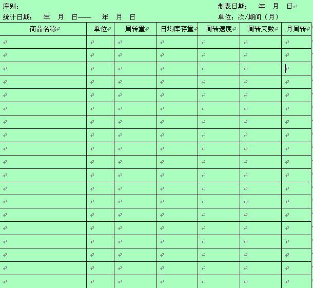 产品库存记录统计表
