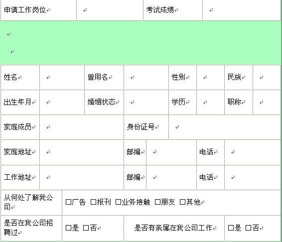 应聘人员信息登记表 doc 2页 人事表格