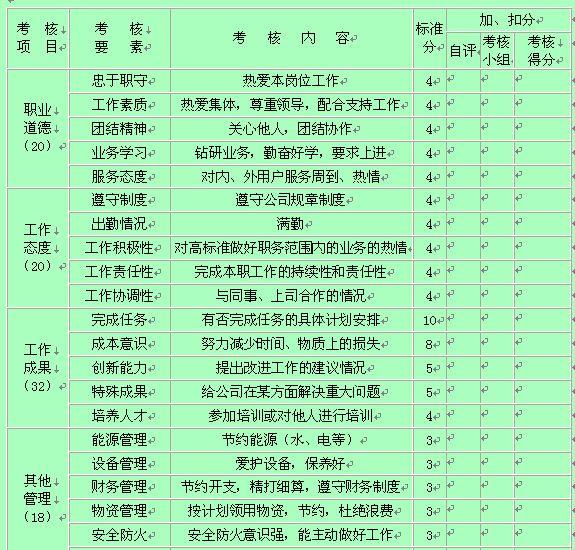 员工通用绩效项目考核表