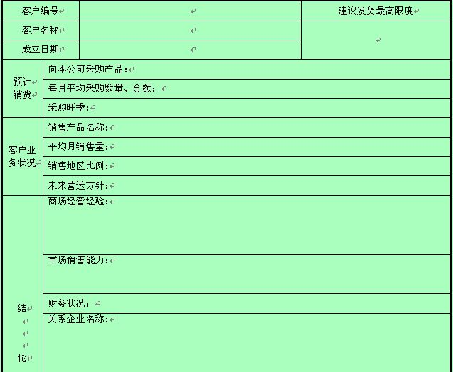 客户信用管理记录表格(doc 3页)
