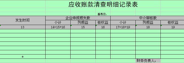 应收账款 清查明细记录表 xls 1页 财务表格 精