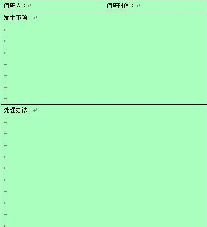 值班情况记录报告表