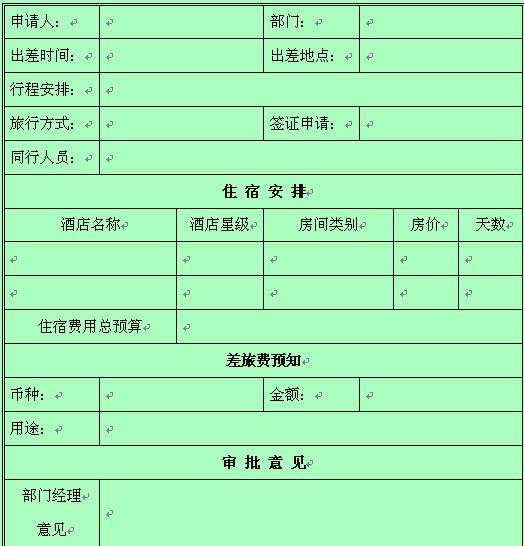 某网络公司员工出差申请表(doc