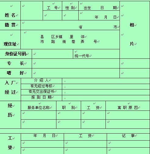 员工人事资料登记卡(一)