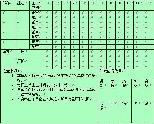 员工考勤记录表