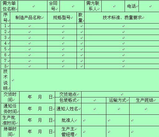 某公司产品生产通知单 doc 2页 生产管理表格