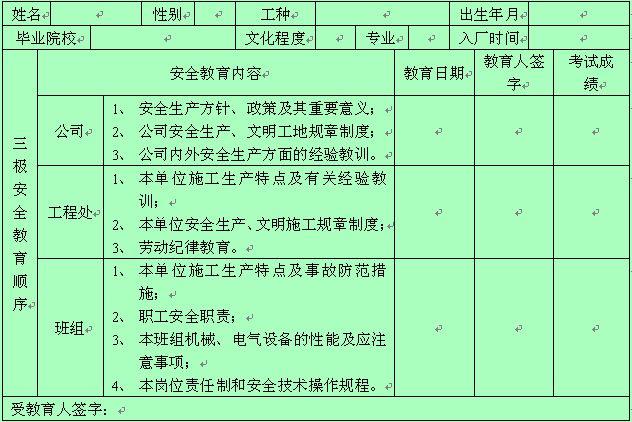 新职工三级安全教育记录卡