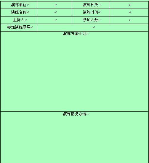 【公司应急预案演练记录表】