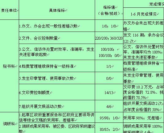 政府办公室绩效管理指标执行表
