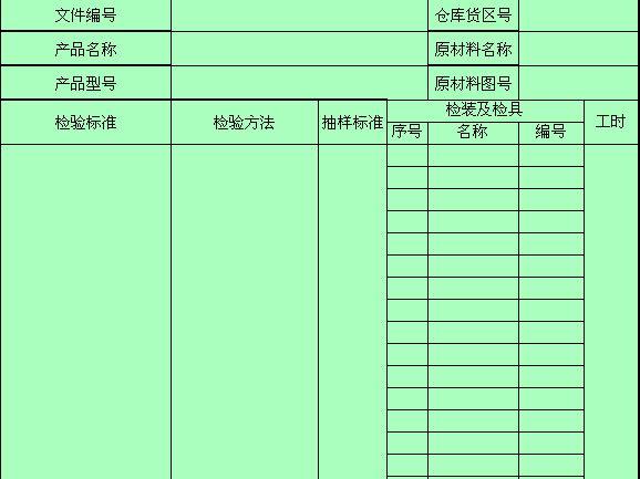 电气件原材料检验标准表