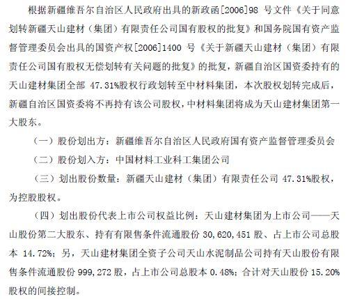 水泥股份公司简式权益变动报告书