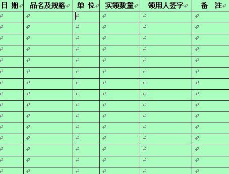 业办公用品领取登记表 doc 2页 行政管理表格