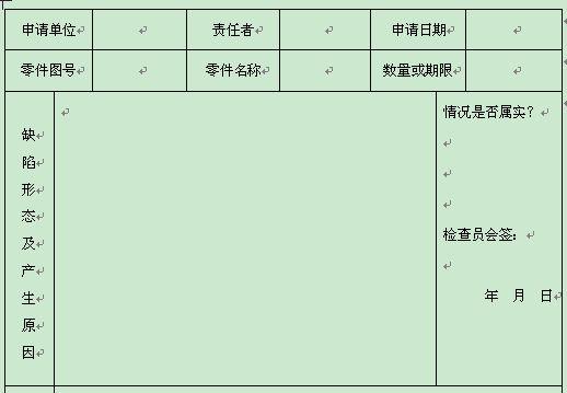 质量体系表格之偏差件回用申请单