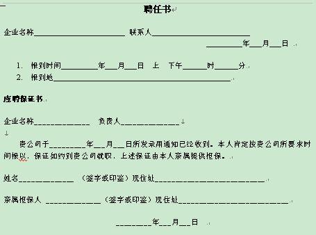 聘任书常用格式(doc 1页)