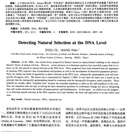 DNA水平自然选择作用的检测