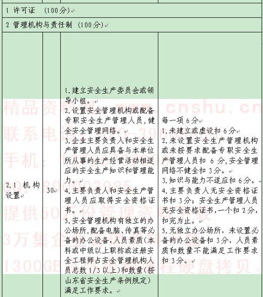 安全标准化样板企业考核评分标准
