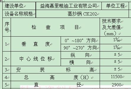 江苏某公司立式设备安装记录表